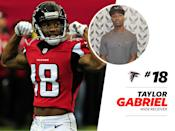 """<p>Taylor Gabriel's style is <a href=""""https://www.instagram.com/p/BPnFoqDjvaV/?taken-by=tgdadon&hl=en"""" rel=""""nofollow noopener"""" target=""""_blank"""" data-ylk=""""slk:rich"""" class=""""link rapid-noclick-resp"""">rich</a>: The pinstripes! The Louis Vuitton luggage bag! Gabriel might be a Falcon on-field, but off, he's looks more Wolf—as in Wall Street. </p>"""