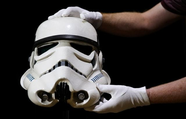 The Screen-Matched Tantive IV Stormtrooper Helmet is estimated to fetch between 6. £120,000-180,000 (Andrew Matthews/PA)
