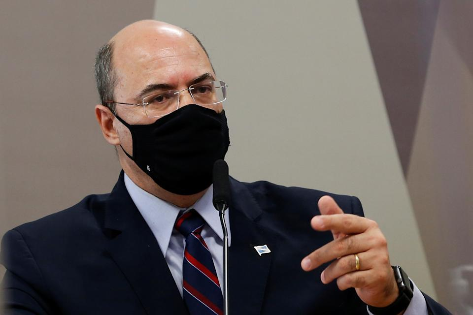 Former governor of the Rio de Janeiro state, Wilson Witzel speaks during a meeting of the Parliamentary Inquiry Committee (CPI) to investigate government actions and management during the coronavirus disease (COVID-19) pandemic, at the Federal Senate in Brasilia, Brazil June 16, 2021. REUTERS/Adriano Machado