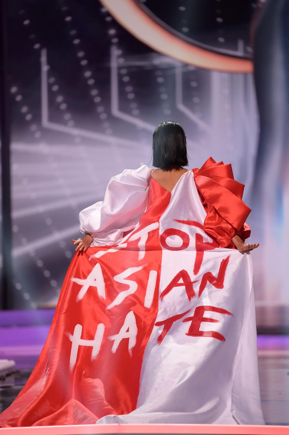Bernadette Belle Ong, Miss Universe Singapore 2020, on stage during the National Costume Show at the Seminole Hard Rock Hotel & Casino in Hollywood, Florida on May 13, 2021.