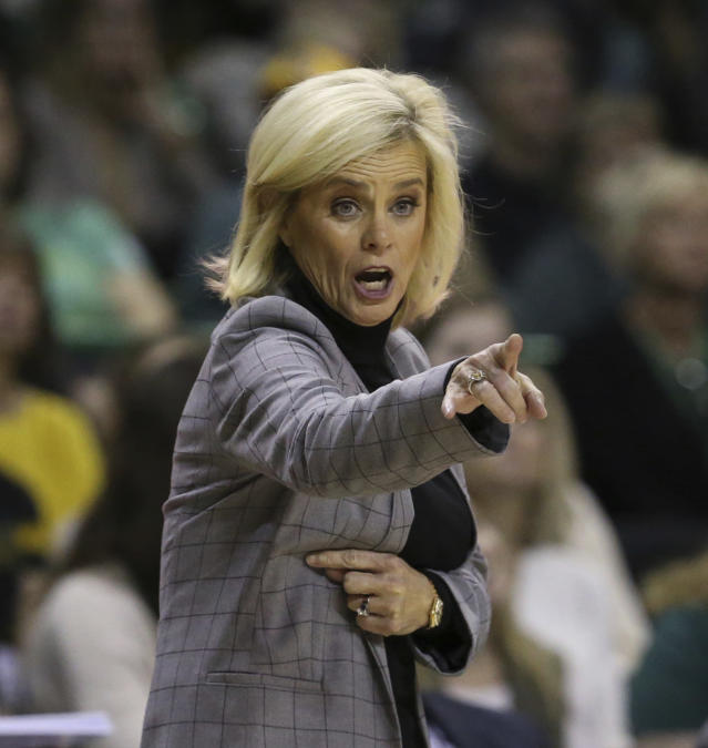 Baylor head coach Kim Mulkey calls in an offensive play against Oklahoma State in the second half of an NCAA college basketball game, Sunday, Jan. 12, 2020, in Waco, Texas. (Rod Aydelotte/Waco Tribune Herald via AP)