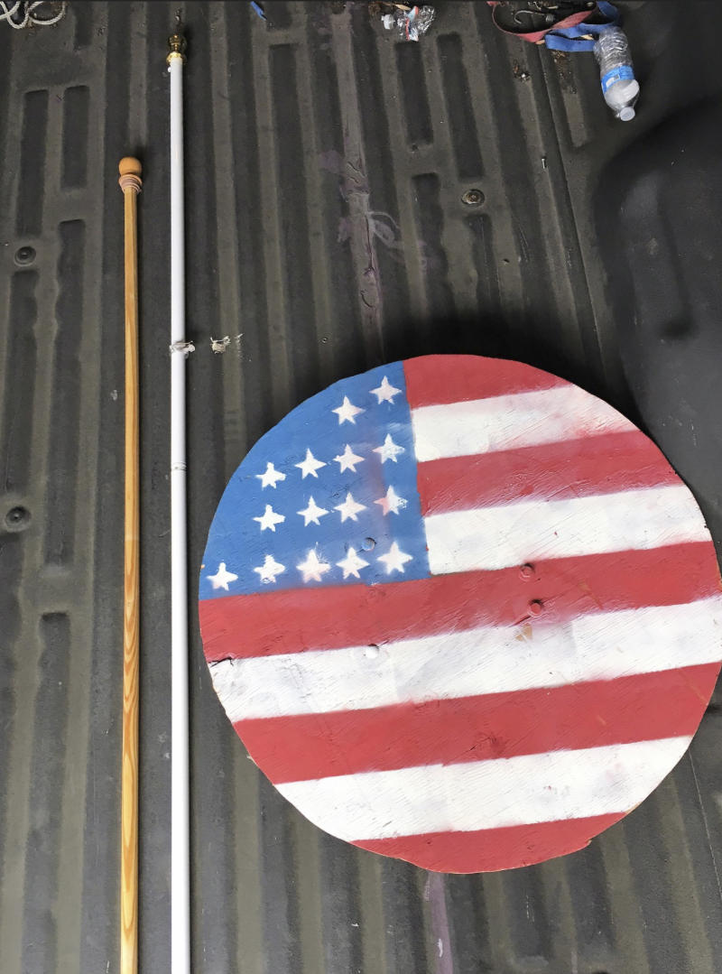 This photo provided by the Portland, Ore. Police shows a metal shield seized by the Portland police before a protest in downtown Portland, Ore., on Saturday, Aug. 17, 2019. Flag-waving members of the Proud Boys and Three Percenters militia group began gathering late in the morning, some wearing body armor and helmets. Meanwhile black clad, helmet and face-mask wearing anti-fascist protesters were also among the several hundred people on the streets. ( Portland, Ore. Police via AP)