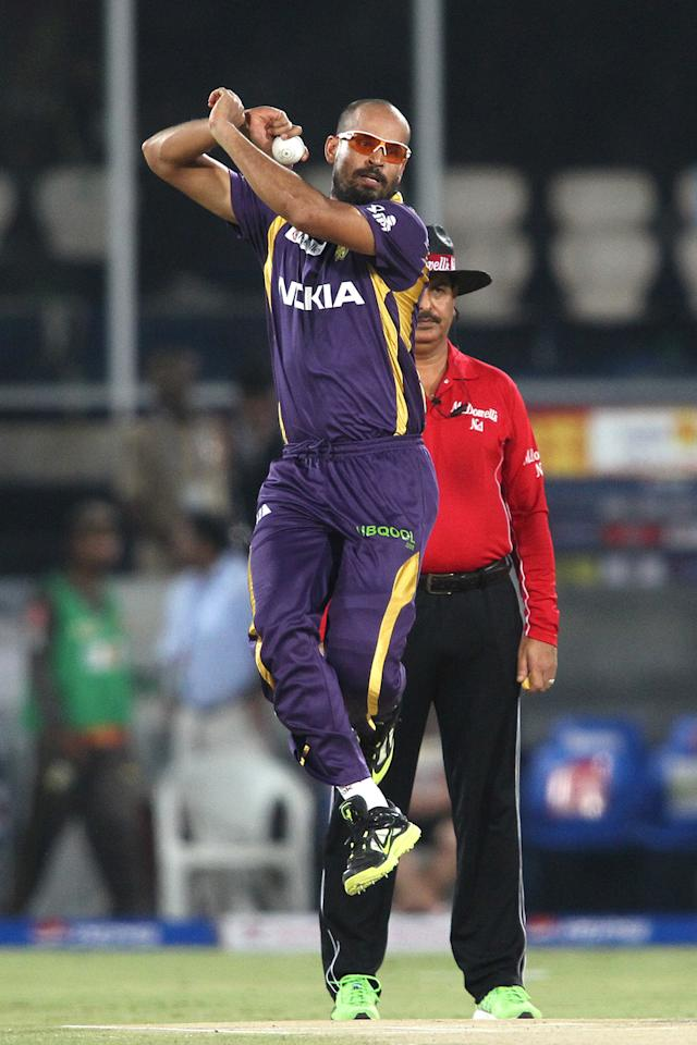 Yusuf Pathan of Kolkata Knight Riders sends down a delivery during match 72 of the Pepsi Indian Premier League between The Sunrisers Hyderabad and The Kolkata Knight Riders held at the Rajiv Gandhi International Stadium, Hyderabad on the 19th May 2013. (BCCI)