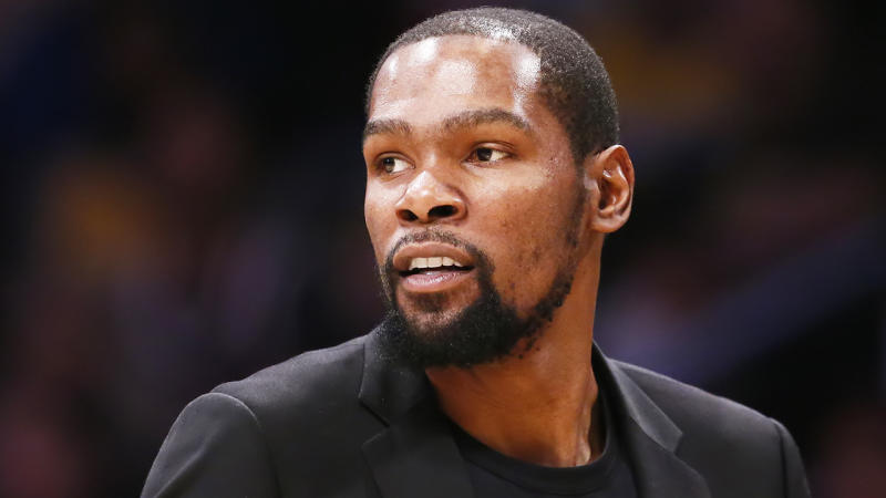 Kevin Durant is one of four Brooklyn Nets players to test positive for the coronavirus (COVID-19). (Photo by Chris Elise/NBAE via Getty Images)