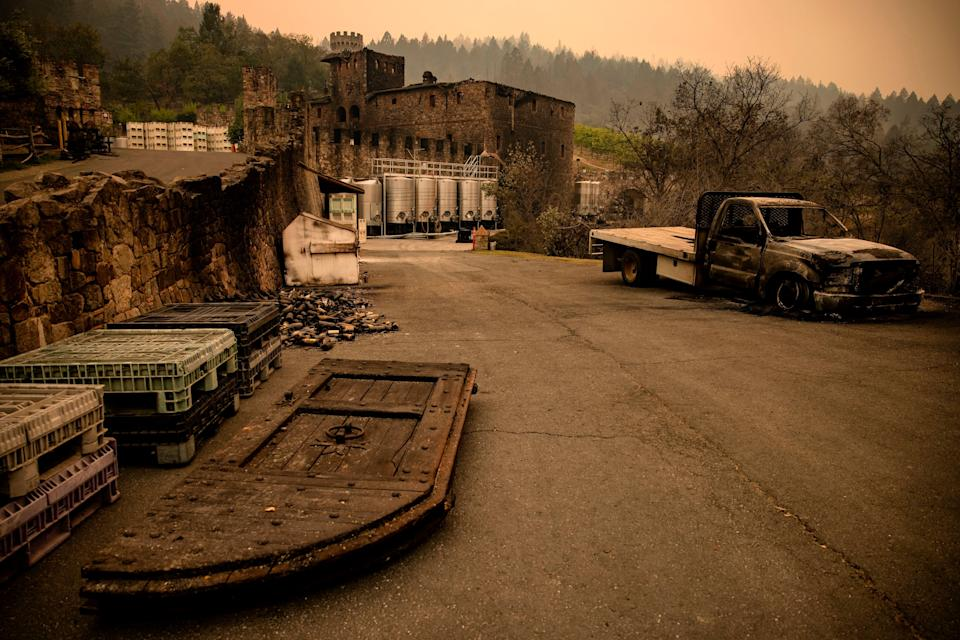 The farm house at Napa Valley's Castello di Amorosa winery is seen gutted by the Glass fire on Tuesday.