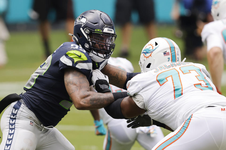 Damontre Moore of the Seattle Seahawks