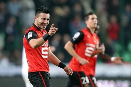French forward Romain Alessandrini reacts as he scored the second goal during his french League One soccer match against Lille, in Rennes, western France, Friday, Sept. 28, 2012. (AP Photo/David Vincent)