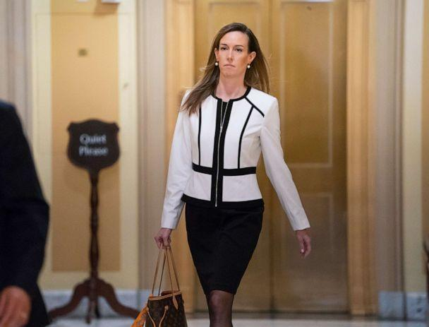 PHOTO: Jennifer Williams, a special adviser to Vice President Mike Pence for Europe and Russia who is a career Foreign Service officer, arrives for a closed-door interview at the Capitol, Nov. 7, 2019. (J. Scott Applewhite/AP )