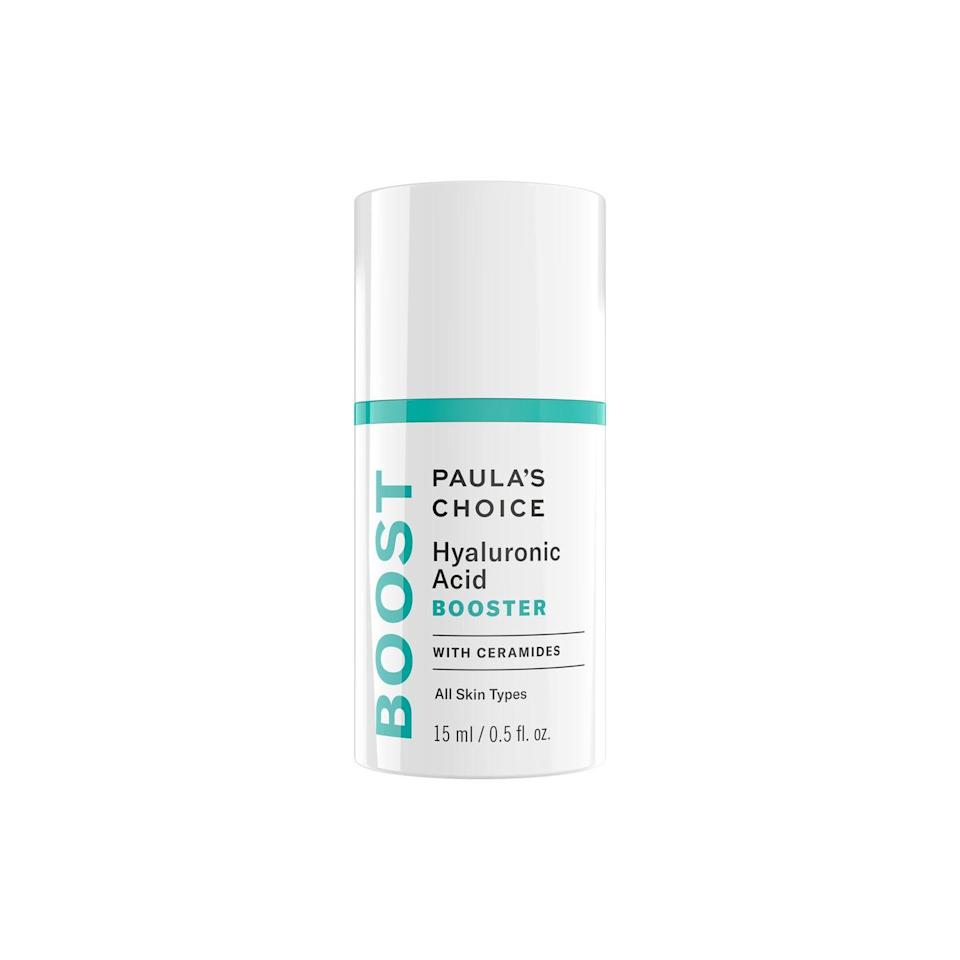 """<p>This fluid gel is designed to be worn alone or added to to your regular moisturiser/serum for a serious hydration boost. Packed with hyaluronic acid and skin-replenishing ceramides (used to restore the lipids that are lost in your skin due to environmental factors), you should see a real difference in your skin's texture and hydration levels after just one month.</p><p><a class=""""link rapid-noclick-resp"""" href=""""https://www.lookfantastic.com/paula-s-choice-hyaluronic-acid-booster-15ml/11174239.html"""" rel=""""nofollow noopener"""" target=""""_blank"""" data-ylk=""""slk:Buy now"""">Buy now</a> LookFantastic.com, £44</p>"""