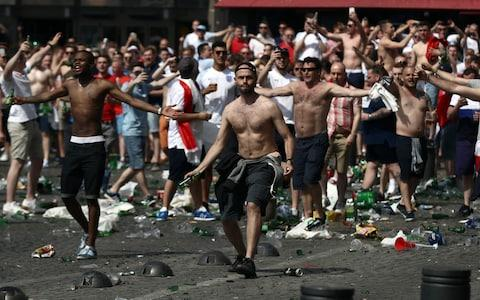 England and Russia supporters clash - Credit: getty images