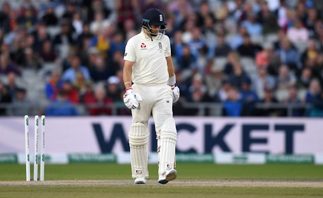 Joe Root followed the next ball, with Cummins castling the England captain (Photo by Gareth Copley/Getty Images)