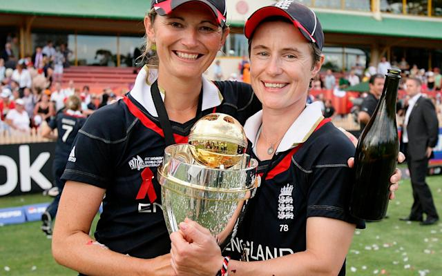 <span>Charlotte Edwards and Claire Taylor celebrate after winning the ICC Women's World Cup</span> <span>Credit:  Getty Images </span>
