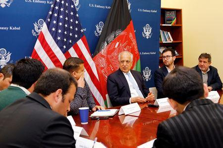 U.S. special envoy for peace in Afghanistan, Zalmay Khalilzad, (C) speaks during a roundtable discussion with Afghan media at the U.S Embassy in Kabul, Afghanistan January 28, 2019. U.S Embassy/ Handout via REUTERS