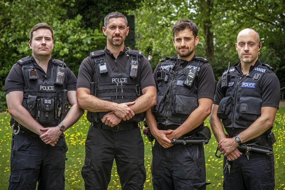 (l to r) Pc James Packman, Pc Liam King, Pc Liam Steele and Sgt Iain Watkinson are being honoured (Jason Bye/Thames Valley Police/PA) (PA Media)
