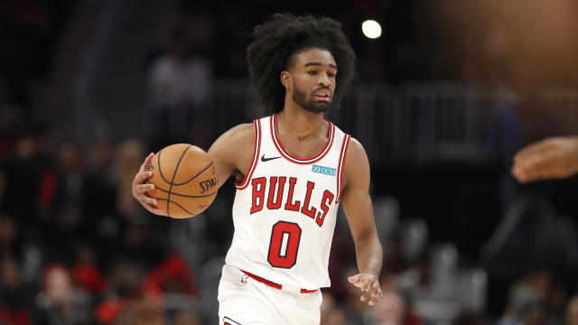 Chicago Bulls guard Coby White (0) brings the blue the court in the first half of an NBA basketball game against the Atlanta Hawks Wednesday, Nov. 6, 2019, in Atlanta. (AP Photo/John Bazemore)