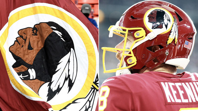 Sponsors FedEx have asked the Washington Redskins logo (pictured left and pictured on the helmet of Case Keenum) to be changed. (Getty Images)