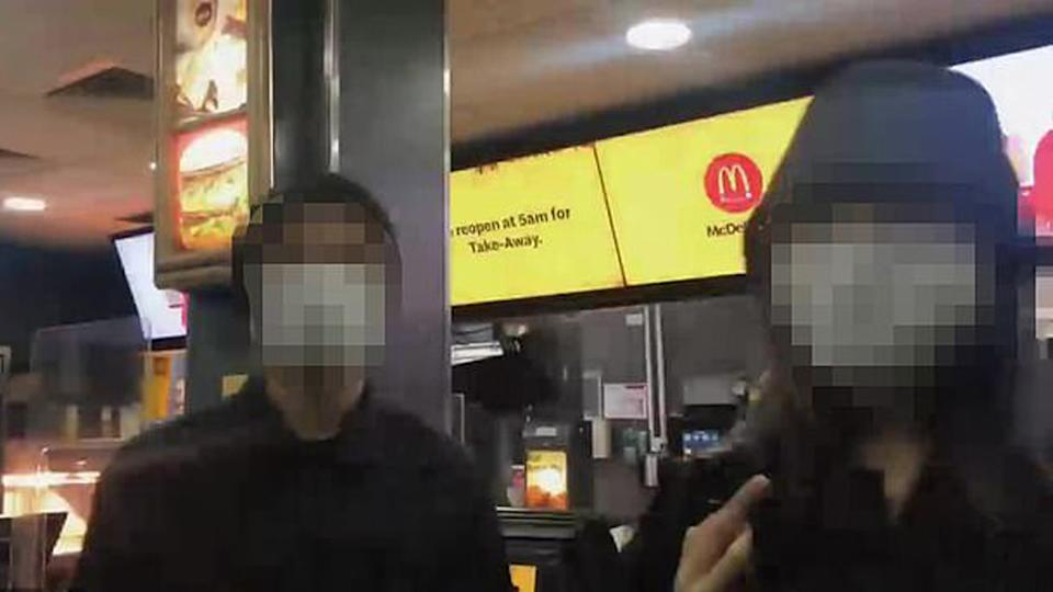 Two of the group that broke curfew by heading to a Melbourne McDonald's at 2:30am.
