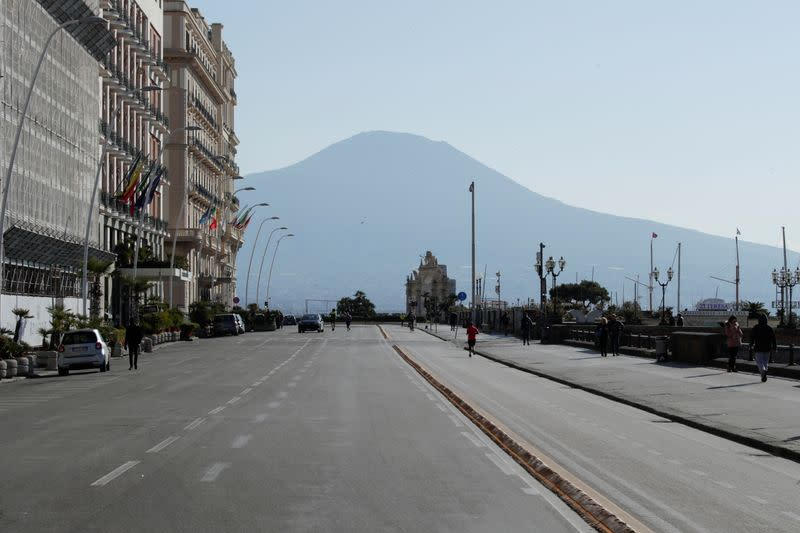 An almost empty Via Partenope is pictured, after a decree orders for the whole of Italy to be on lockdown in an unprecedented clampdown aimed at beating the coronavirus, in Naples