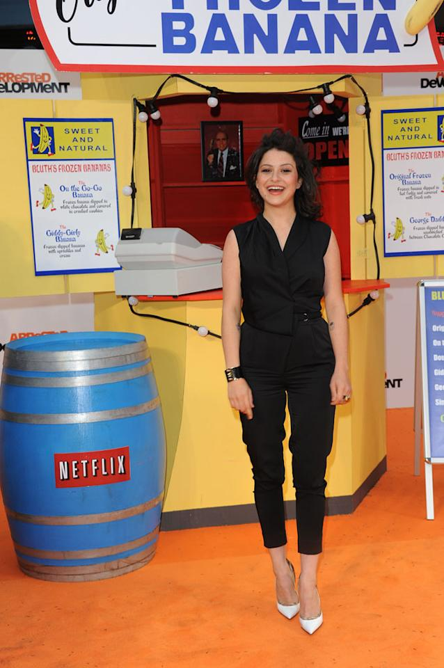 "Alia Shawkat attends the red carpet premiere for the launch of Netflix Original Series, ""Arrested Development,"" Season 4 on May 09, 2013 at Vue Leicester Square in London, England."