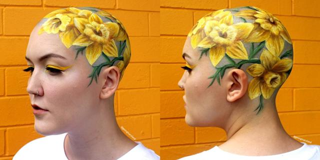 Georgia Ryland created a work of art on her friend's bald head. (Photo: Instagram/Georgina Ryland)