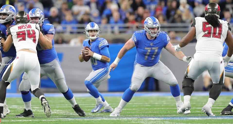 Detroit Lions center Frank Ragnow (77) protects quarterback David Blough during the second half vs. the Tampa Bay Buccaneers, Sunday, Dec. 15, 2019 at Ford Field.