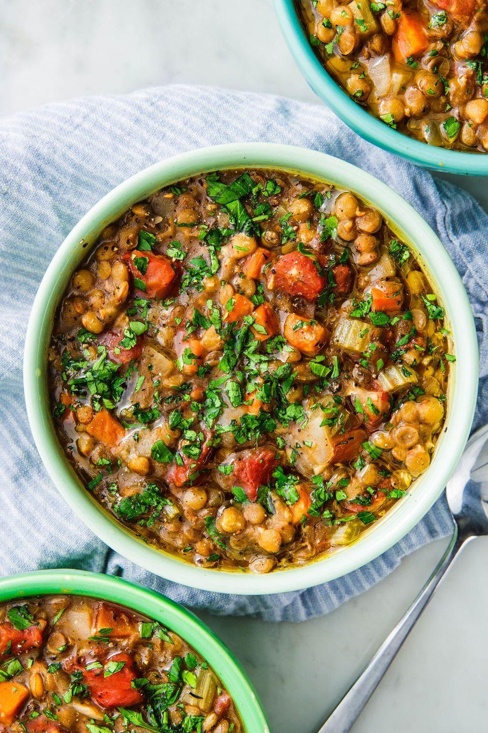 "<p>The faster version of this healthy, cozy soup.</p><p>Get the recipe from <a href=""https://www.delish.com/cooking/recipe-ideas/a25240121/instant-pot-lentil-soup/"" rel=""nofollow noopener"" target=""_blank"" data-ylk=""slk:Delish"" class=""link rapid-noclick-resp"">Delish</a>.</p>"