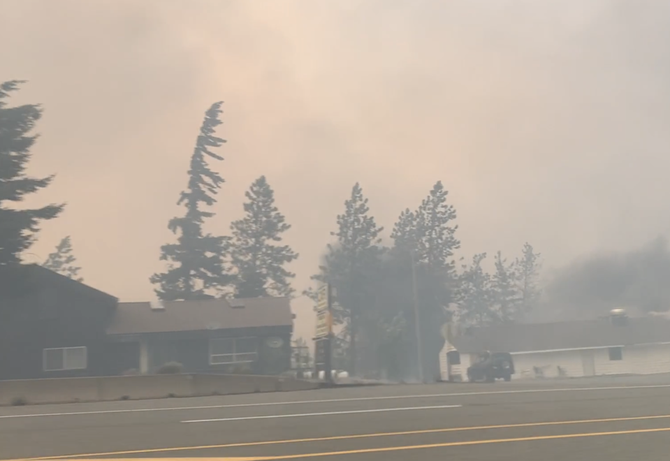 Residents were told to evacuate the town of Lytton on Wednesday evening. The town broke several temperature records in the days prior (2 Rivers Remix Society/Vimeo)