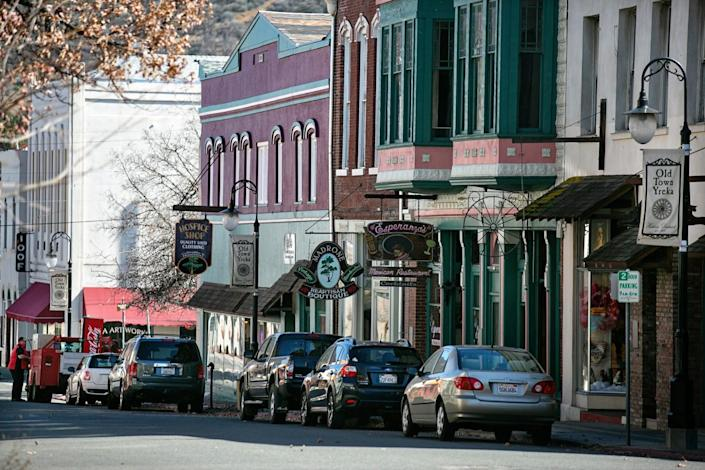 The business district in Historic Downtown Yreka in rural Northern California.