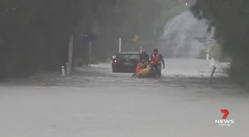 SES help people stuck in floodwaters on the NSW South Coast.