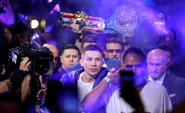 Gennady Golovkin set himself up with a perfect ride into the sunset by signing with DAZN. (AP Photo/Isaac Brekken)