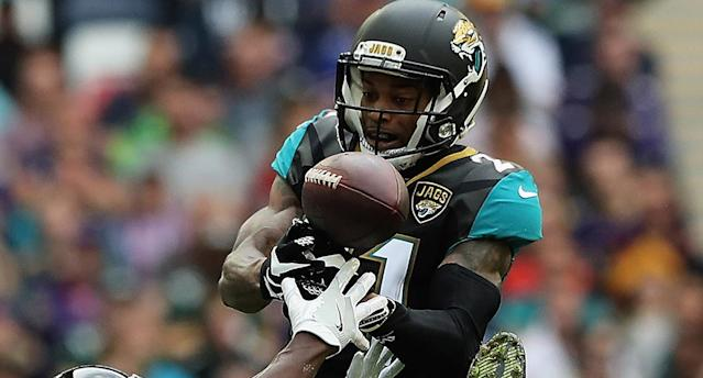 <p>Jaguars star pulls off arguably the best INT of 2017. (AP) </p>