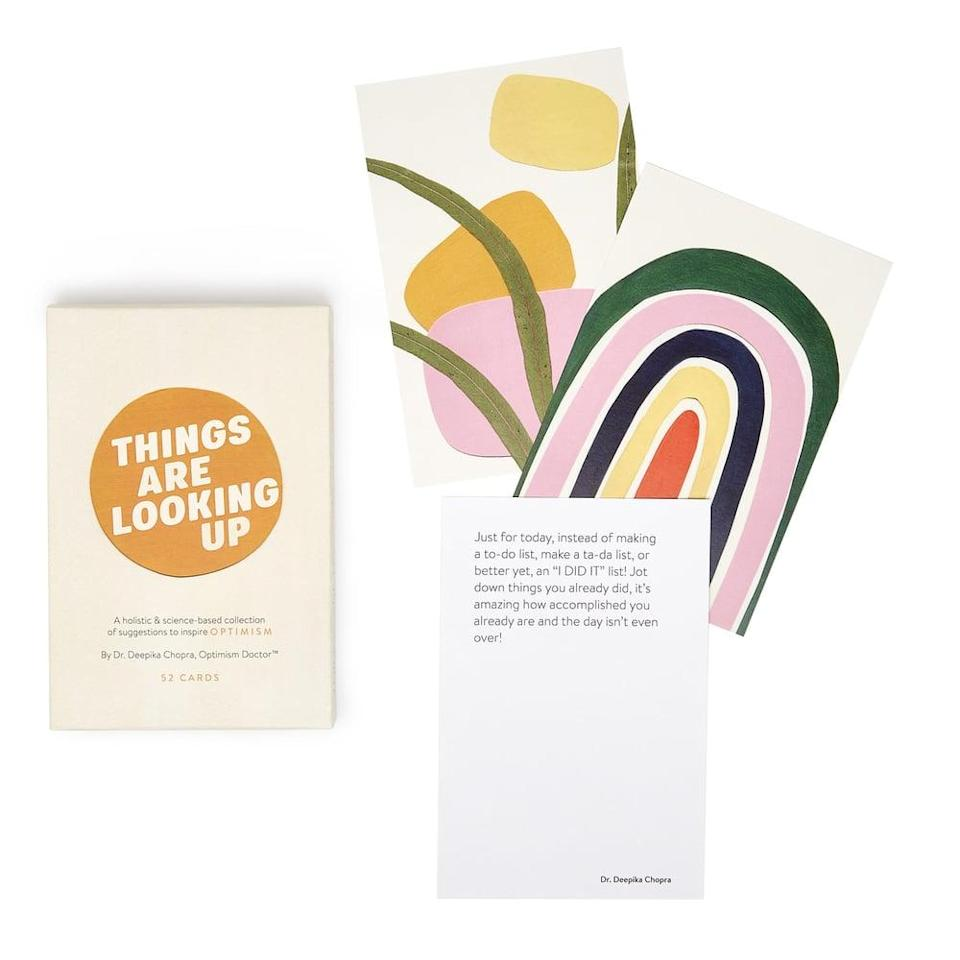 <p>This <span>Optimism On Deck</span> ($40) is a set of cards that will make anyone smile and give them a little perspective. This makes for a great stocking stuffer.</p>