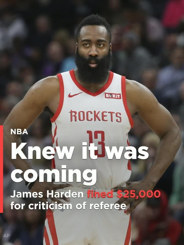 47e8b8fad7ec James Harden fined  25K for criticism of referee Scott Foster after loss to  Lakers  Video