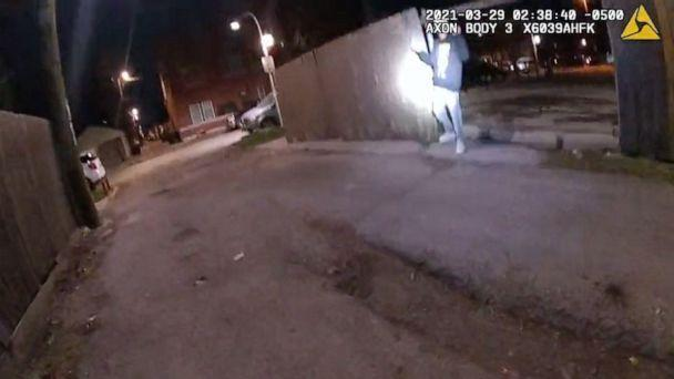 PHOTO: A still image from police body cam footage moments before Adam Toledo, 13, was shot and killed by police during a confrontation after a foot-chase in the early morning hours of March 29, 2021, in Chicago.  (Chicago Police Dept.)