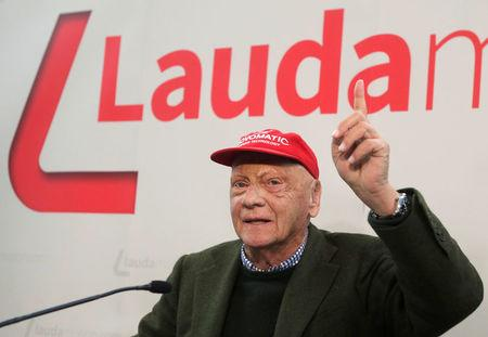 Niki Lauda addresses a news conference in Vienna
