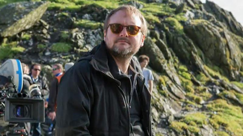 Rian Johnson, who will direct an upcoming Star Wars movie, on the set of The Last Jedi