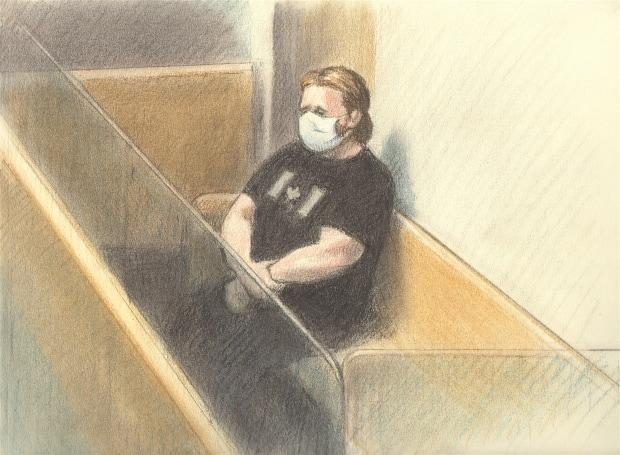 Corey Hurren appears for his sentencing hearing in Ottawa on March 10, 2021. (CBC News - image credit)