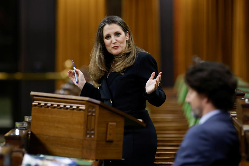 Canada's Finance Minister Chrystia Freeland delivers the budget in the House of Commons on Parliament Hill in Ottawa, Ontario, Canada, April 19, 2021. REUTERS/Blair Gable