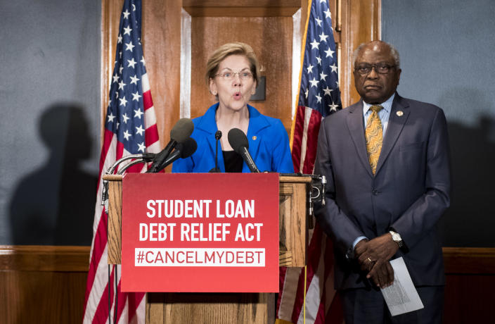 Sen. Elizabeth Warren, (D-MA) and House Majority Whip Jim Clyburn (D-SC) hold a press conference to introduce the Student Loan Debt Relief Act to cancel student loan debt for millions of Americans on in July 2019. (Photo: Bill Clark/CQ Roll Call)