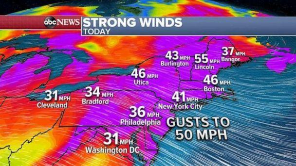 PHOTO: Here are the wind gust forecast for today. Locally, 50 mph winds are expected with some damage possible in major Northeast cities.  (ABC News)