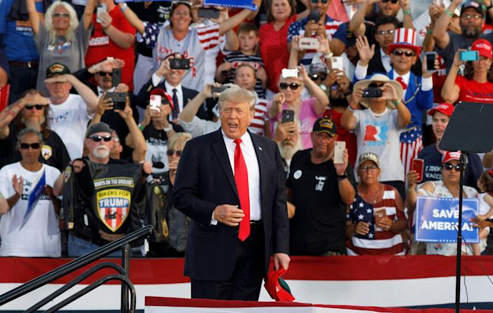 Former president Donald Trump holds a campaign-style rally in Wellington, Ohio, on June 26, 2021.