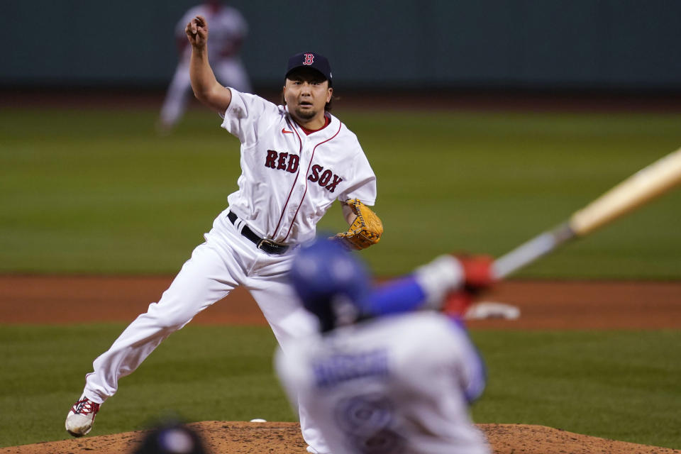 Boston Red Sox relief pitcher Hirokazu Sawamura delivers during the sixth inning of the team's baseball game against the Toronto Blue Jays at Fenway Park, Wednesday, April 21, 2021, in Boston. (AP Photo/Charles Krupa)