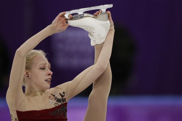 Bradie Tennell of the United States performs during the women's short program figure skating in the Gangneung Ice Arena at the 2018 Winter Olympics. (AP)