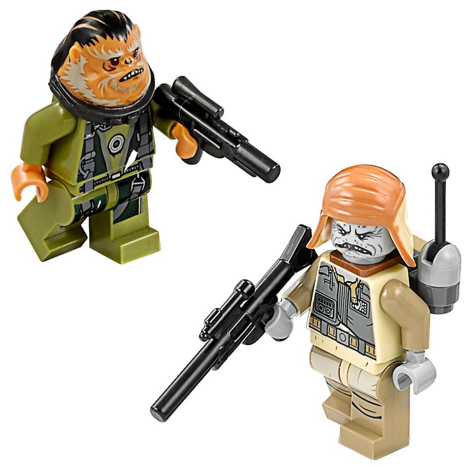<p>This is our first official look at toy versions of these two alien characters allied with the Rebellion. The simian-like Bistan is a gunner on the U-wing and his minifig is included with that Lego set. Pao is a fierce commander who leads the ground troops into battle and is featured in the Imperial shuttle playset.</p>