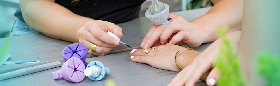"""This sturdy ring will safely hold a polish bottle while you paint your fingernails (goodbye dripping and spilling).<br /><br /><strong>Promising review:</strong>""""Cards on the table —I felt ridiculous bothering to purchase a Nail Polish Ring Holder.<strong>But this has so improved my self-manicuring skills, it's been a life-changer, and probably saved me a lot of money on manicures.</strong>If you have self-polishing struggles, if you've ever ruined your duvet by spilling a bright yellow nail polish bottle (not that this is from personal experience or anything) — this is a must."""" —<a href=""""https://www.amazon.com/dp/B07DNJ8KNV?tag=huffpost-bfsyndication-20&ascsubtag=5815832%2C30%2C36%2Cd%2C0%2C0%2C0%2C962%3A1%3B901%3A2%3B900%3A2%3B974%3A3%3B975%3A2%3B982%3A2%2C16173374%2C0"""" target=""""_blank"""" rel=""""nofollow noopener noreferrer"""" data-skimlinks-tracking=""""5815832"""" data-vars-affiliate=""""Amazon"""" data-vars-href=""""https://www.amazon.com/gp/customer-reviews/RB1P7G00LVPLP?tag=bfemmalord-20&ascsubtag=5815832%2C30%2C36%2Cmobile_web%2C0%2C0%2C0"""" data-vars-keywords=""""cleaning"""" data-vars-link-id=""""0"""" data-vars-price="""""""" data-vars-retailers=""""Amazon"""">Franimal</a><br /><br /><strong>Get it from Amazon for<a href=""""https://www.amazon.com/dp/B07DNJ8KNV?tag=huffpost-bfsyndication-20&ascsubtag=5815832%2C30%2C36%2Cd%2C0%2C0%2C0%2C962%3A1%3B901%3A2%3B900%3A2%3B974%3A3%3B975%3A2%3B982%3A2%2C16173374%2C0"""" target=""""_blank"""" rel=""""nofollow noopener noreferrer"""" data-skimlinks-tracking=""""5815832"""" data-vars-affiliate=""""Amazon"""" data-vars-asin=""""B07DNJ8KNV"""" data-vars-href=""""https://www.amazon.com/dp/B07DNJ8KNV?tag=bfemmalord-20&ascsubtag=5815832%2C30%2C36%2Cmobile_web%2C0%2C0%2C16173374"""" data-vars-keywords=""""cleaning"""" data-vars-link-id=""""16173374"""" data-vars-price="""""""" data-vars-product-id=""""16408603"""" data-vars-product-img=""""https://m.media-amazon.com/images/I/41AiDX2MyJL.jpg"""" data-vars-product-title=""""tweexy Wearable Nail Polish Holder Ring, Fingernail Polishing Tool, Manicure and Pedicure Accessories (Beach Glass Blue)"""" d"""