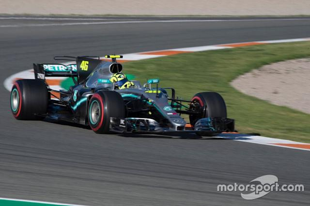 "Valentino Rossi, Mercedes-AMG F1 W08 <span class=""copyright"">Monster Energy</span>"
