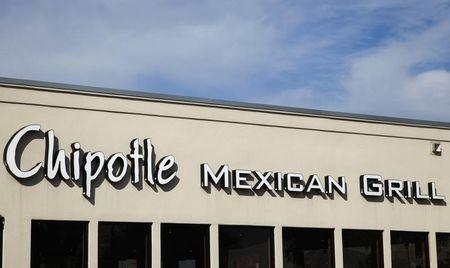The sign for Chipotle Mexican Grill's restaurant is seen in Westminster, Colorado