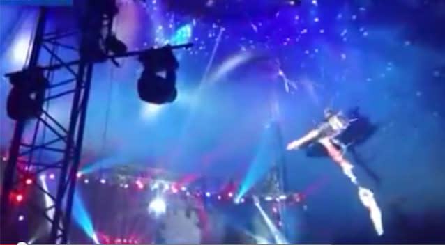 Vicky Garcia fell while performing with her partner in Houston. Photo: Youtube