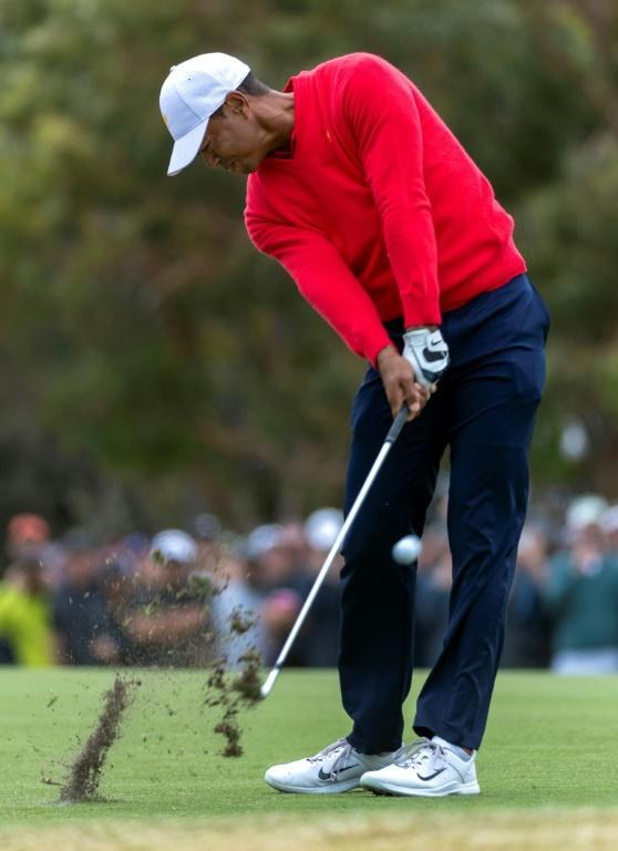 USA captain Tiger Woods, in his ninth Presidents Cup, set the tone from the front, going out first in the singles and winning 3 and 2 against Abraham Ancer (AFP Photo/SIMON BAKER)