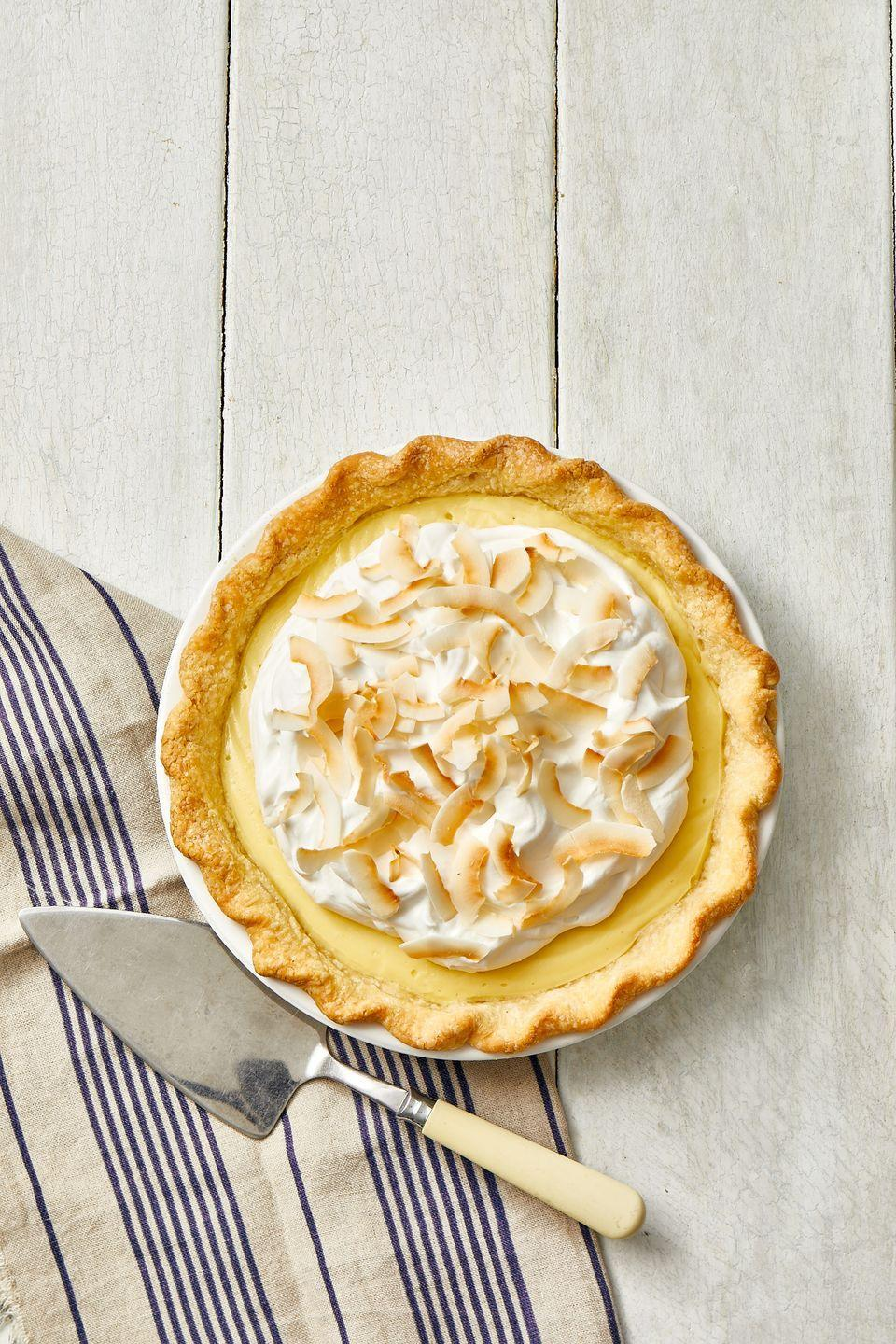 "<p>Coconut cream pie is the stuff that dreams are made of: Crispy, flaky pie crust filled with a thick, creamy coconut custard and topped with mounds of homemade whipped cream. Yes, please!</p><p><em><a href=""https://www.goodhousekeeping.com/food-recipes/a35433240/coconut-cream-pie-recipe/"" rel=""nofollow noopener"" target=""_blank"" data-ylk=""slk:Get the recipe for Coconut Cream Pie »"" class=""link rapid-noclick-resp"">Get the recipe for Coconut Cream Pie »</a></em></p>"